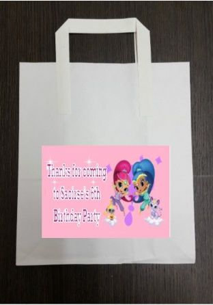 4 x Shimmer and Shine Birthday Party Bags with Personalised Sticker